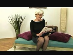 Grey Haired Granny In Stockings Gets Cum On Her Hairy